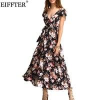 Eiffter جديد وصول الصيف النساء أزياء قصيرة الأكمام الخامس الرقبة الأزهار طباعة فساتين ماكسي مثير شاطئ ربط عارية الذراعين فستان طويل