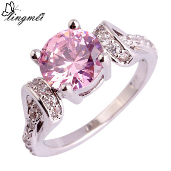 lingmei Wholesale Round Pink CZ & White CZ Silver Color Ring Size 6 7 8 9 10 11 Fashion Popular Women Engagement Jewelry 1001R8