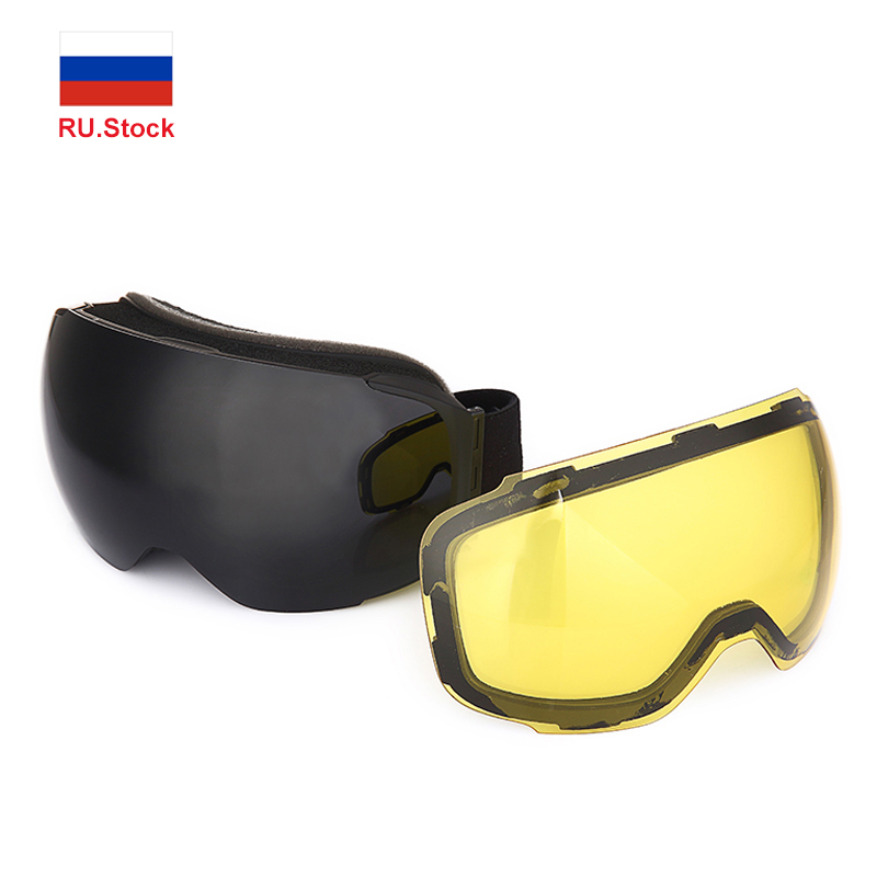 Snowmobile Ski Goggles Mask Men Women Double-layer Lens Anti Fog UV400 Skiing Glasses Snowboard Windproof Detachable Eyewear
