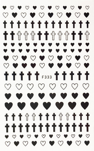 Image 2 - 1 Sheet 4 Colors Empty Solid Cross Heart Shape Self Adhesive Nail Art Stickers DIY Tips F333#