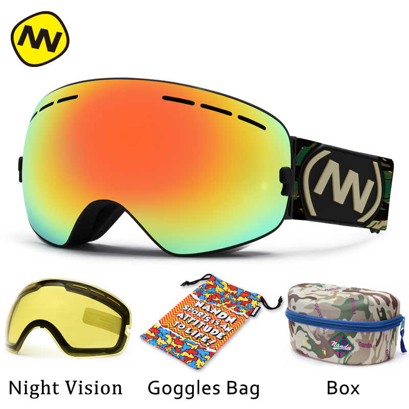 NANDN marka kayak gözlükleri UV400 anti-sis büyük kayak maskesi gözlük kayak erkek kadın kar snowboard gözlüğü