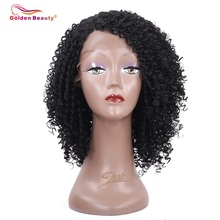 14 tums Kinky Curly Lace Front Wig Syntetisk Värme Resiatant Kort Hår Paryk Sidodel Golden Beauty