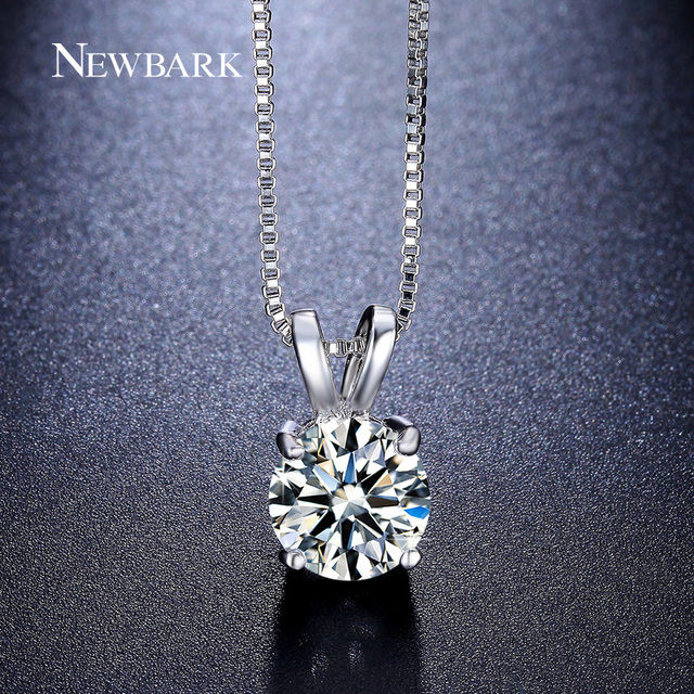 NEWBARK OL Stil 2ct Zirkonia Kette Halsketten & Anhänger Solitaire