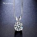 NEWBARK Ronda Collar 2ct Top AAA CZ Diamond Collares 4 dientes de Oro Blanco Plateado Joyería de La Boda Corazones Y Flechas Clásicas regalo