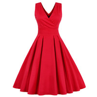 Summer Dresses Women Pinup Retro Robe Rockabilly 50s 60s Vintage Dress Plus Size Sexy Red Party