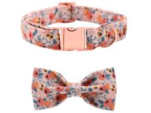 Unique Style Paws Dog Collar Pink Rose Flower Print Cotton Fabric and Bow