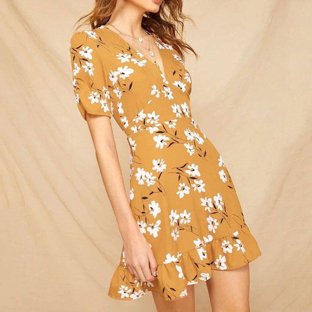 Women Summer Dress 2020 Girl V-Neck Short Sleeve Ruffles Hem Floral Print Mini Dress Ladies Beach Style Summer Dress Vestidos