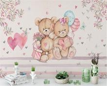 Купить с кэшбэком Beibehang Custom Wallpaper European Style Handmade Cute Bear Background Living Room Bedroom Kids Princess House Fresco wallpaper