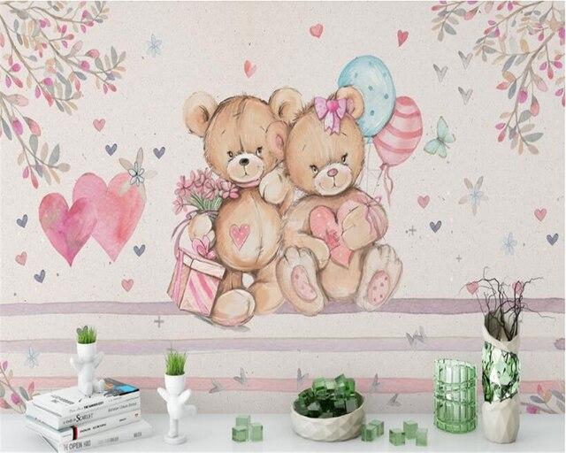 beibehang custom wallpaper european style handmade cute bear