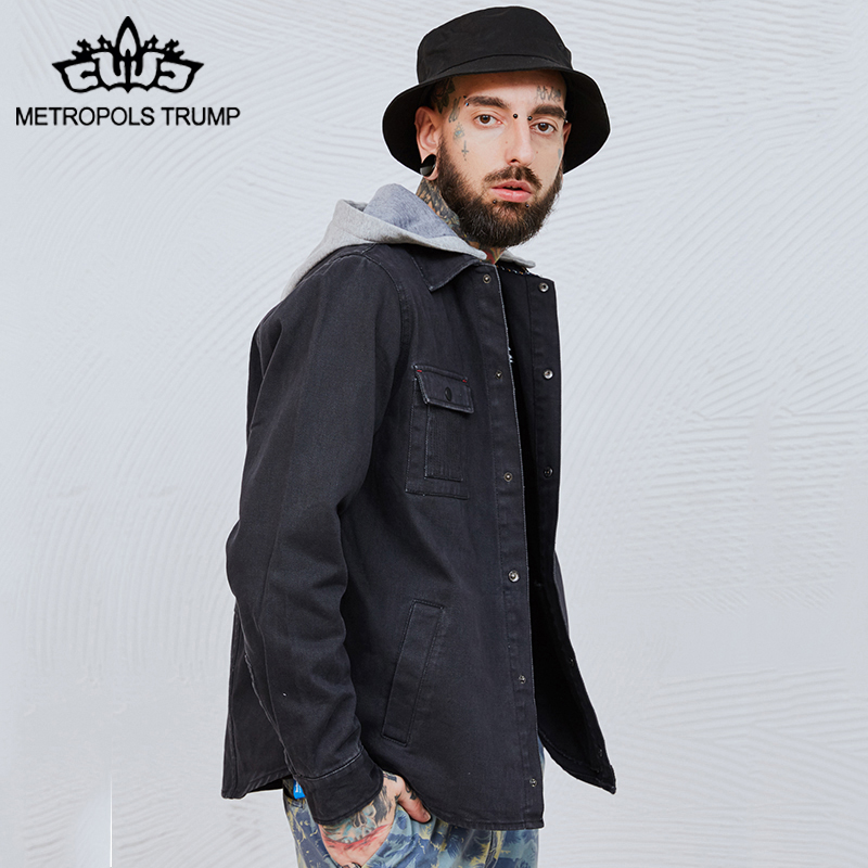 mens Denim Jacket New Spring Mens Fashion black Outerwear Windbreaker Mens fit Long sleeves Jackets Hooded Casual Coat