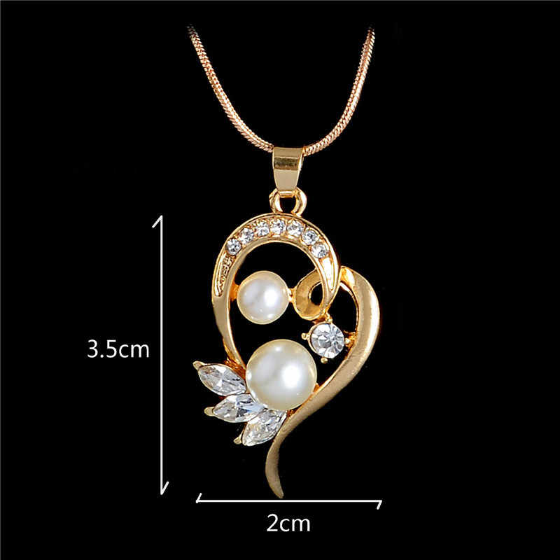 Gold Color Necklace Earrings Jewelry Set Water Drop Simulated Pearl Flowers Crystal Pendant Wedding Bridal Jewelry Sets
