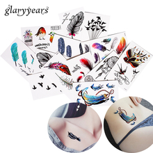 1 Sheet Colored Body Tattoo Waterproof Dreamcatcher Feather Design Waist Arm Decal Temporary Tattoo Sticker Freshness Style