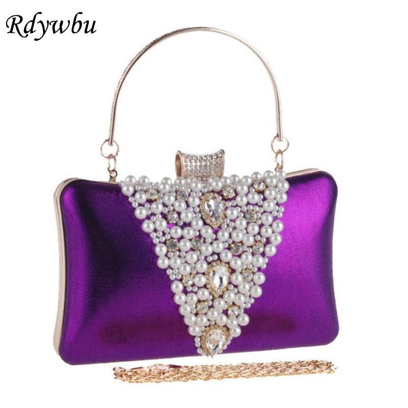 Rdywbu Luxury Daily Western Pearl Handbag Crust Dinner Clutch Pillow Bag Diamond Christmas Lady Evening Bag Chain Bag Bolsas H23