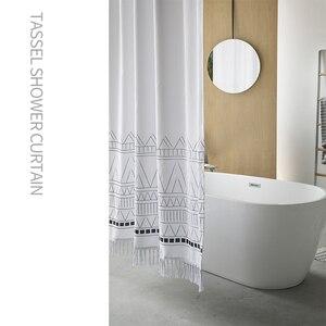 Image 2 - LIANGQI cortina de ducha gruesa con borla étnica, herramientas de baño, partición impermeable, cortina colgante de alta calidad, decoración del hogar