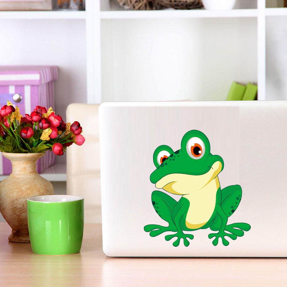 Bug Eyed Green Frog Cartoon Vinyl Wall Sticker Colorful Frog Car Bumper Sticker Or Laptop Decals Self Adhesive Wallpaper