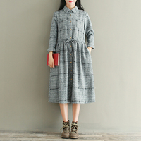 Autumn New School Style Women Turn Down Collar Long Sleeve Pocket Drawstring Waist Casual Plaid Calf
