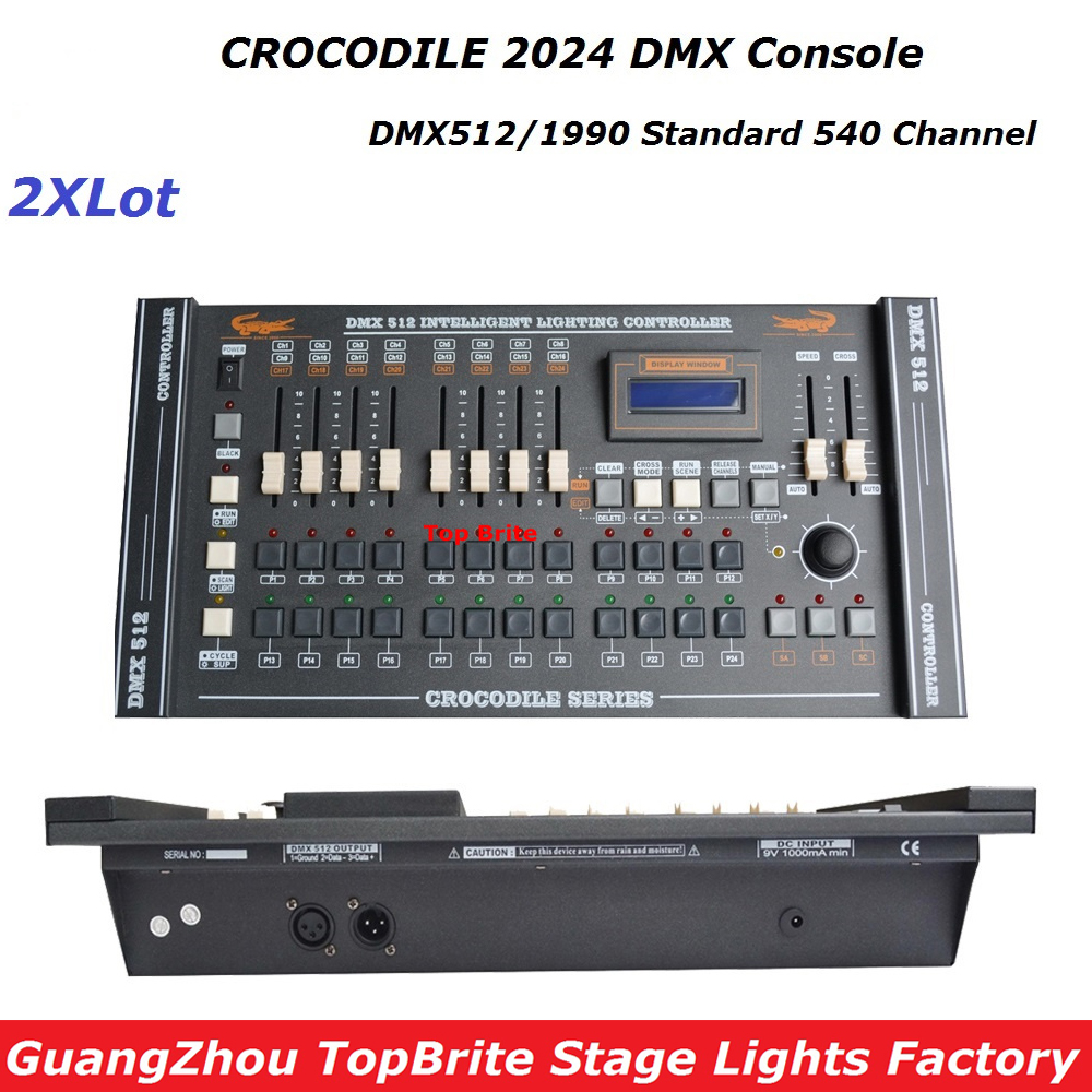 2XLot New CROCODILE 2024 DMX 512 Controller , Top Selling Stage Light Controller DMX Dj Disco club/Professional Audio Equipments