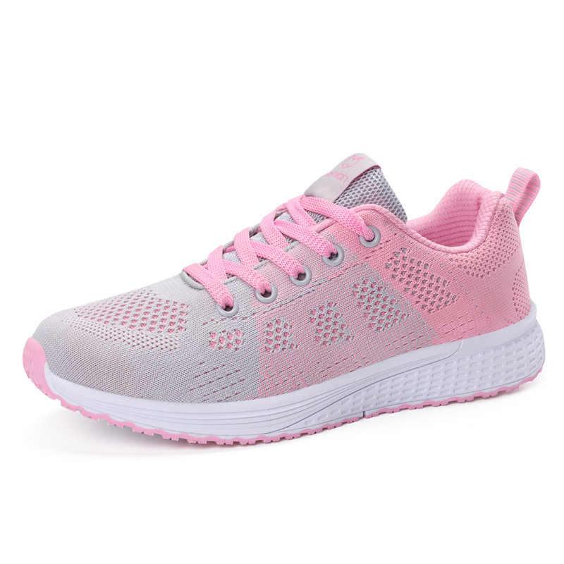 Hızlı teslimat Kadınlar rahat ayakkabılar moda nefes Yürüyüş örgü lace up düz ayakkabı ayakkabı kadın 2019 tenis feminino