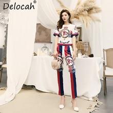 Delocah Women Summer Suits Runway Fashion Short Sleeve Crystal Beading T-Shirt + Casual Striped Print Long Pants 2 Pieces Set