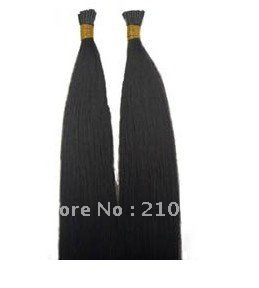 gradeAAAAA 100%human hair Promotion lowest price  free shipping 50g #1b straight Indian remy hair stick I tip hair extensions