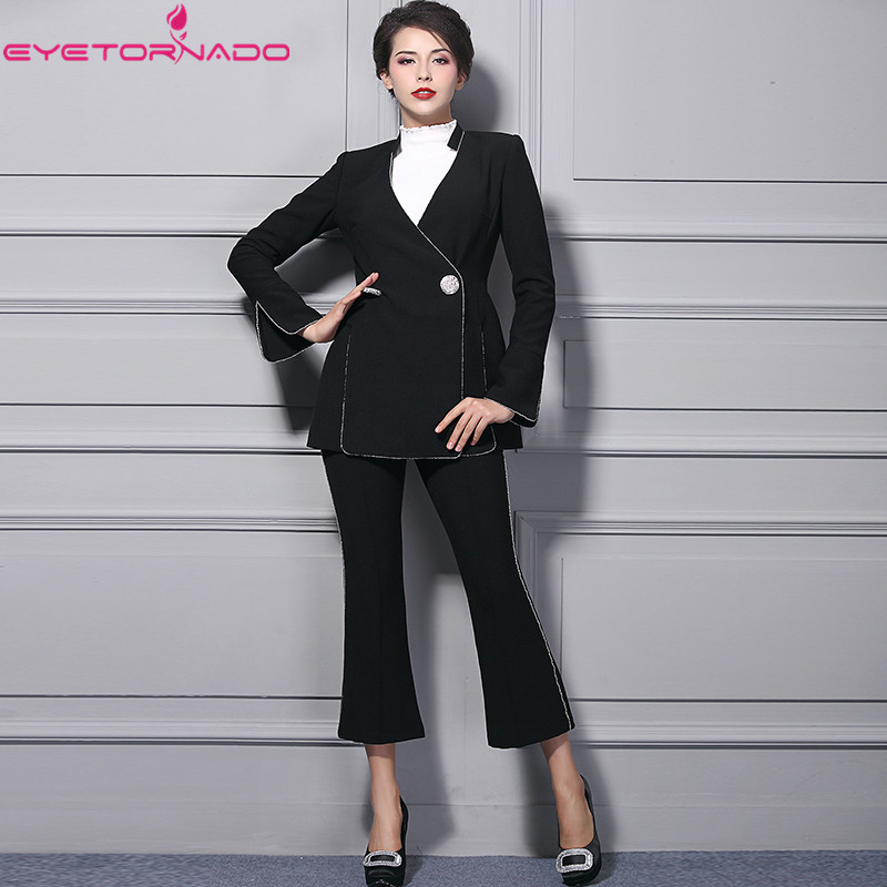 Women spring autumn V neck double breasted flare sleeve blazer coat + long pant suits casual work office two pieces set 9909 high quality woman suit 2 pieces set army green long sleeve suede blazer suit set casual vintage two pieces set women suits