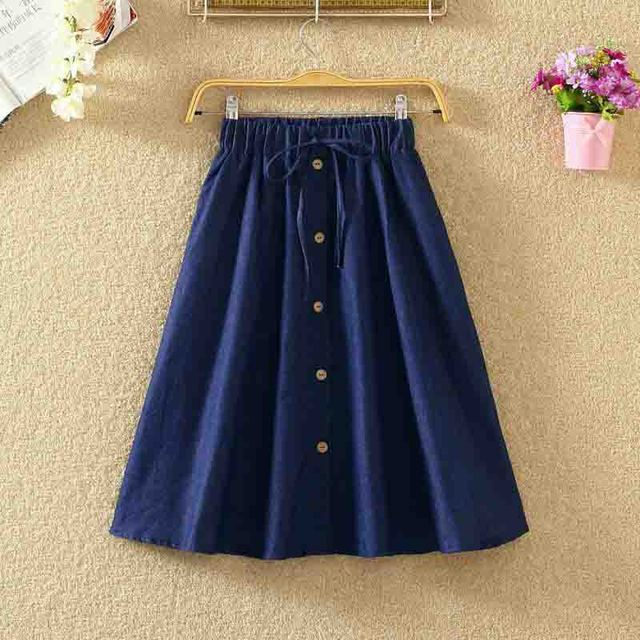 ROPALIA Vintage Retro High Waist Pleated Midi Skirt Fashion Women Skirt Denim Single Breasted Skirt 4