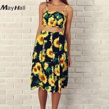 MayHall Summer Sexy Tie Up 2 Piece Set Dresses Women Strap Floral Print High Waist Dress with Buttons robe femme ete 2018 MH172
