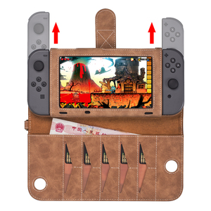 Image 3 - Portable Leather Bag For Nintendo Switch Multi functional Game Card Storage Cover Case For Nintend Switch Console Accessories