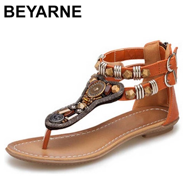 BEYARNES Style Flip Flops Beads Gladiator Sandalias Women 2018 Summer Slippers Fashion Zipper Sandals Flat Shoes