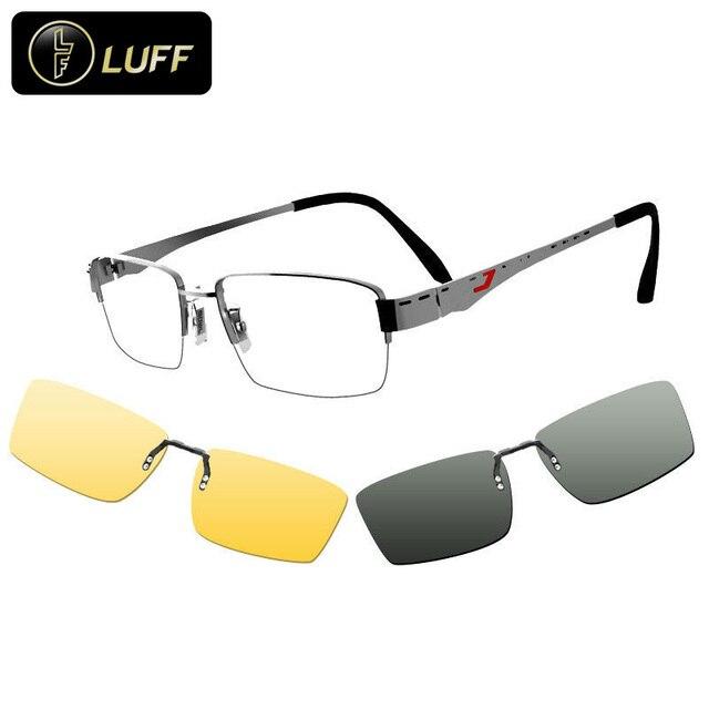 0db956fbee 2016 eyeglasses frame men myopia sunglasses for men Magnetic clip on glasses  night driving goggle polarized