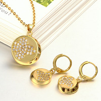 Jewelry set Austrian crystal necklace + earrings European fashion wedding woman gold necklace