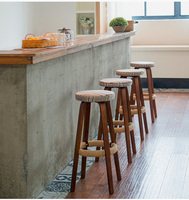 Wooden Round High Bar Stools Home Bar Chairs Coffee Mobile Phone Stool Bar Stools