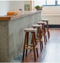 Деревянные круглые высокие барные стулья домашние кофейные искусственные