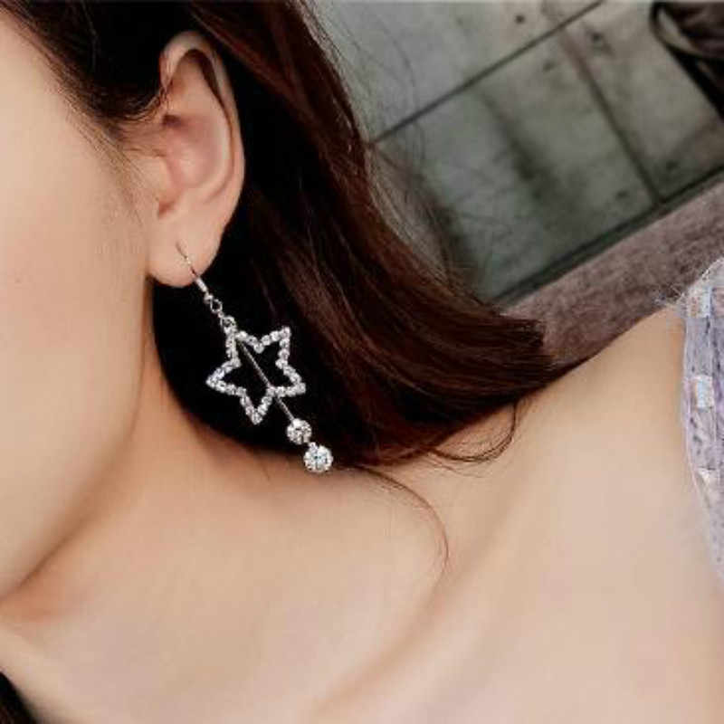 Korean version of the jewelry female five-pointed star rhinestones fashion long temperament stars gold and silver pendant exagge