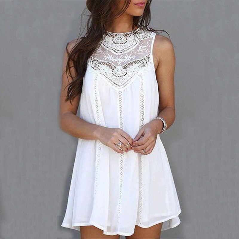 f635d2f553d Летние платья 2018 летние белые Кружево мини Платья для вечеринок пикантные  Клубные Повседневное Винтаж пляжные Защита