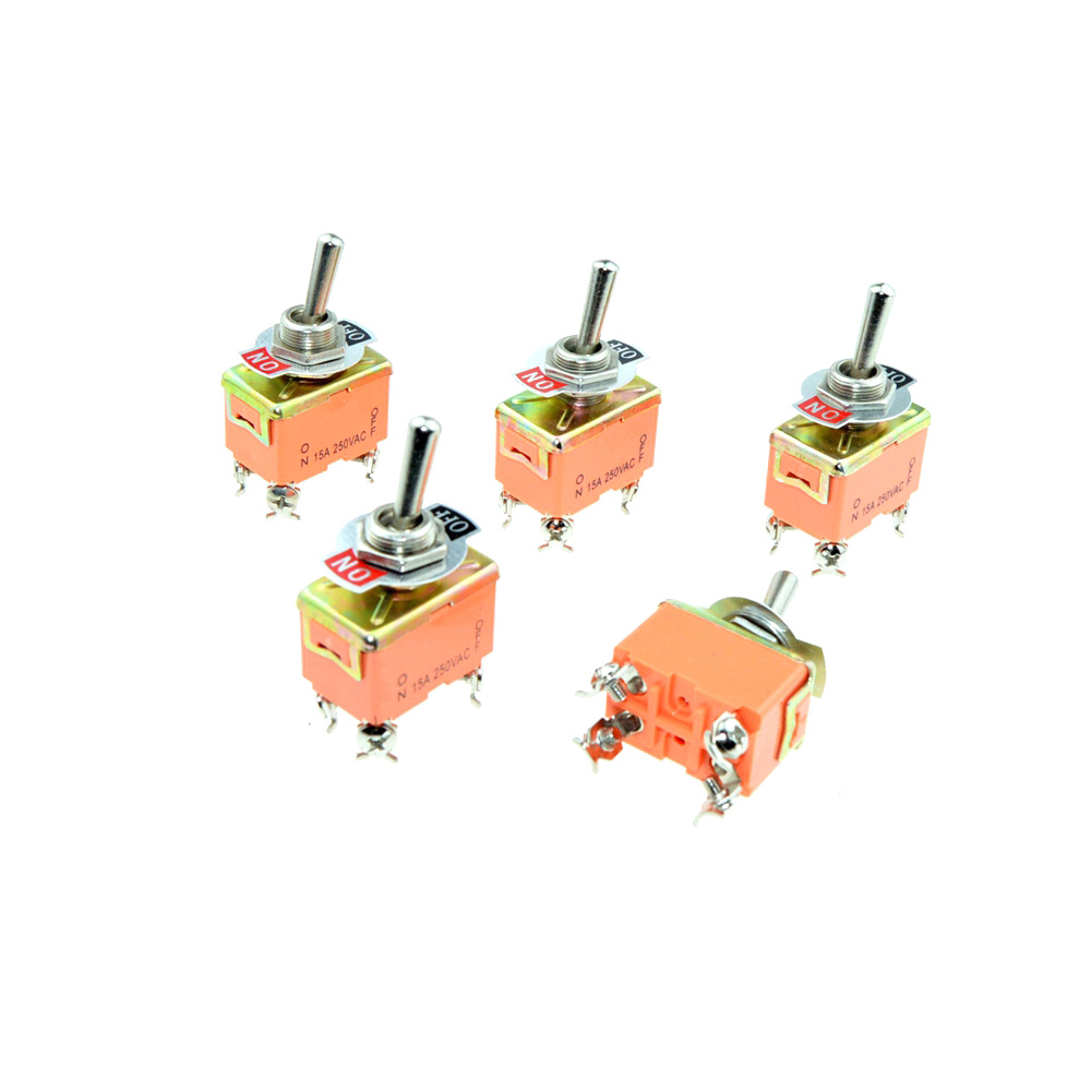 AC 250V 15A DPST ON-OFF 2 Positions Latching 4 Screw Terminals Pin Toggle Switch 12mm Mounted Hole Electric Switches