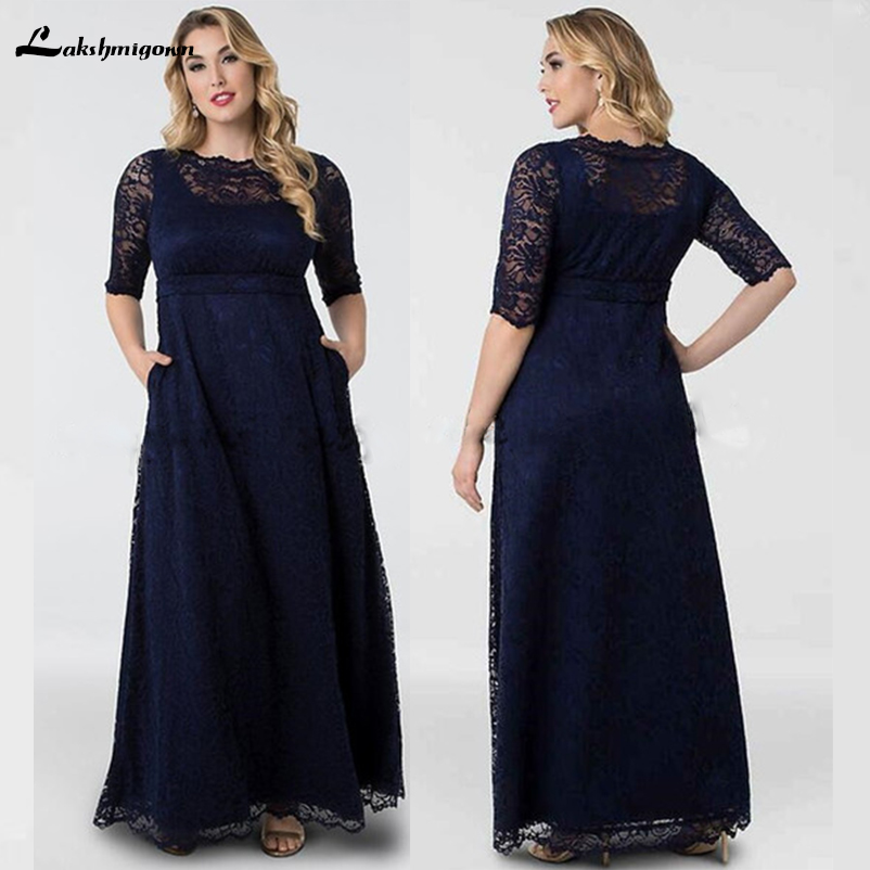 b1912dea39d Modest Lace Mother of the Bride Dresses with Pocket Half Sleeves Dark Navy  Long Plus Size Wedding Guest Dresses Formal 2018