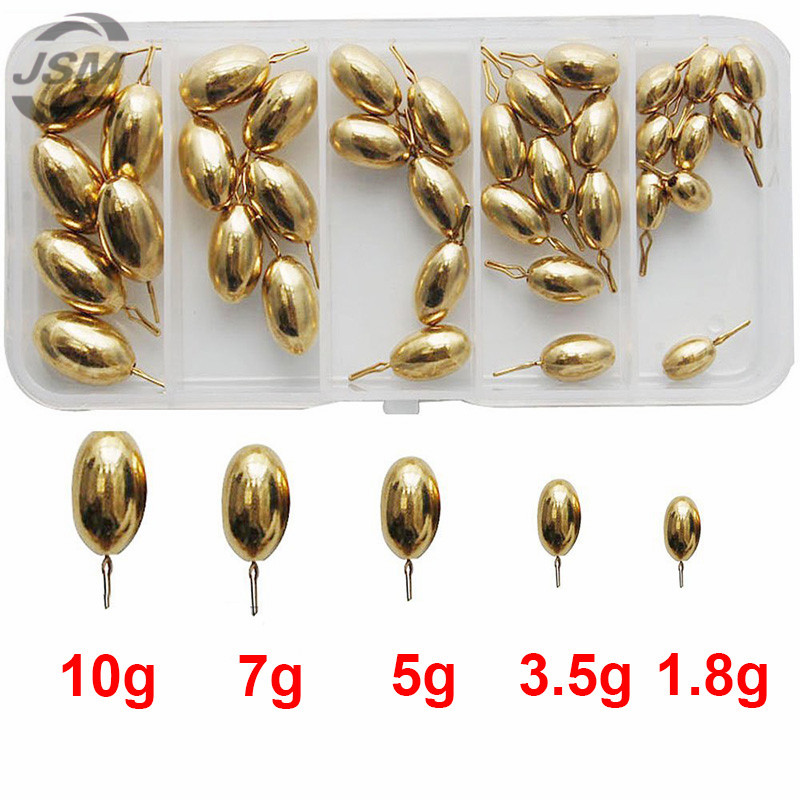 JSM 41pcs 5 Sizes Brass Fishing Sinker For Drop Shot Rigs Carp Fishing Tadpole Shape Casting Lead Weights Sinkers Set With Box