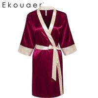 Ekouaer Bride Bridesmaid Robe Sleepwear Sexy Lace Satin Night Robes Fashion Women Bath Robe Dressing Gown