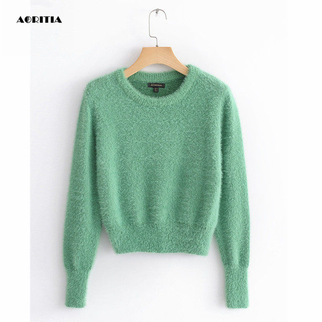 2019 Women Cropped Jumpers Fluffy Mohair Sweater Mujer Pullover Sweaters  Crop Top