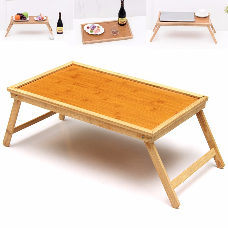 Foldable Wooden Bamboo Bed Tray Breakfast Laptop Desk Tea Serving Table Stand New Laptop Stand Holder