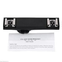 Dual Adaptador de Sapata de Flash TTL Off-Camera Splitter Suporte Do Braço do Cabo de Sincronização Para Nikon Speedlite D3200 D5200 D5300 d7000 D800 D90