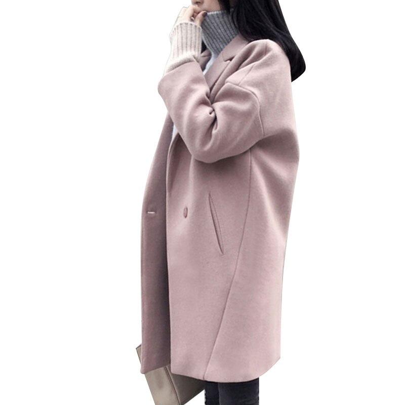 Winter Frauen Rosa Wollmantel Lange Dicke Weibliche Mantel