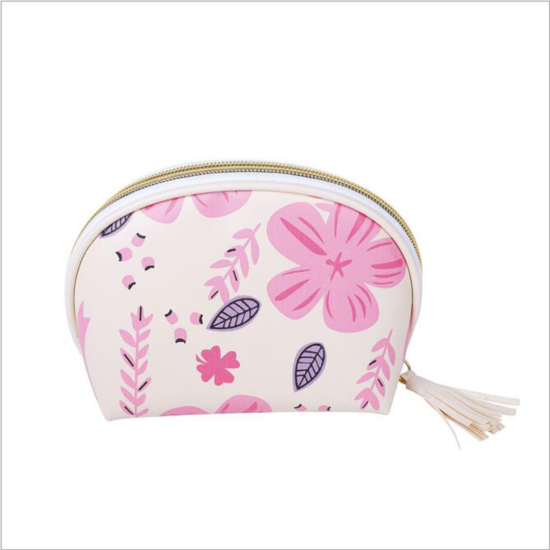 Fashion Floral Printed Women Cosmetic Bag Zipper Waterproof Flamingo Portable Storage Tr ...