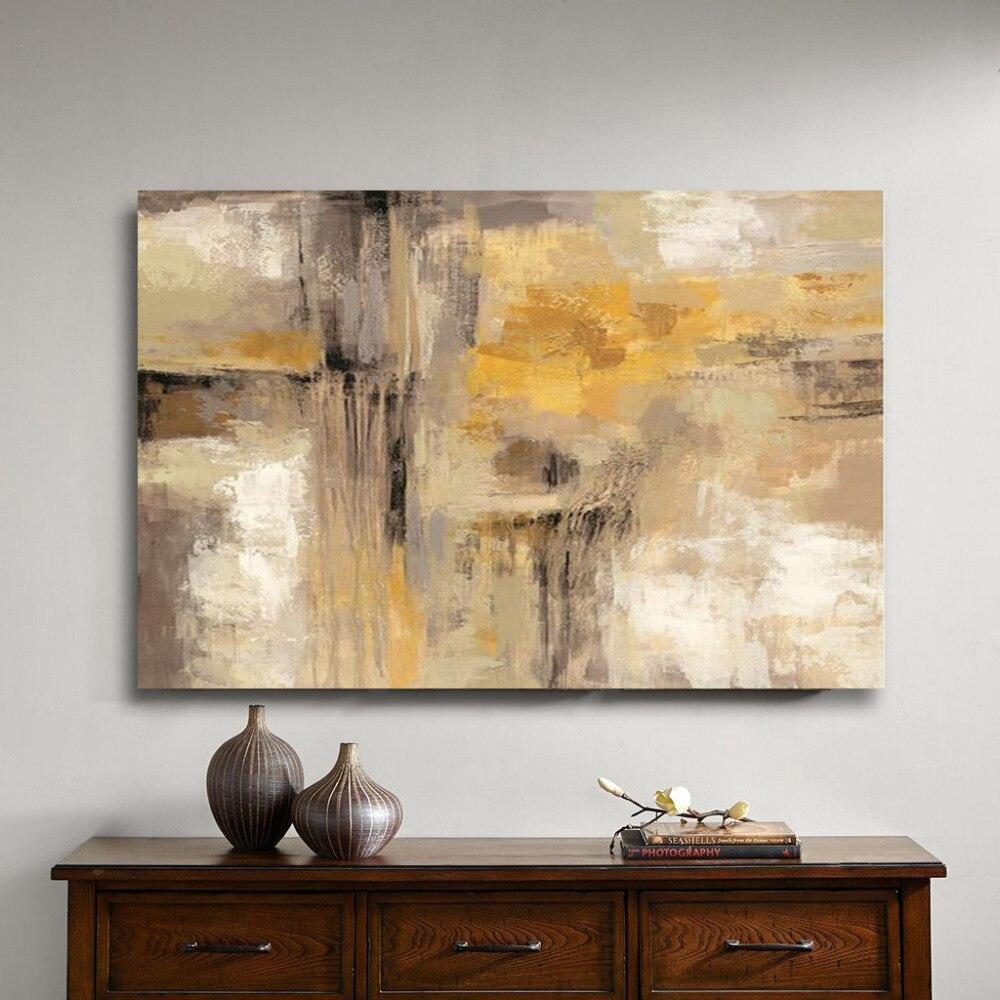 1 peinture à l'huile abstraite jaune gris fait à la main sur toile Art professionnel affiche mur photo pour salon canapé décoration