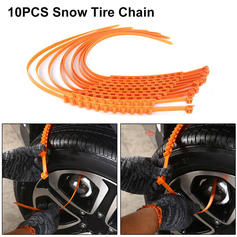 10 PCS Car Tyre Anti-skid Chain Emergency Tire Anti-slip Chain For Sand Road Snow Road With Gloves Snow Shovel image