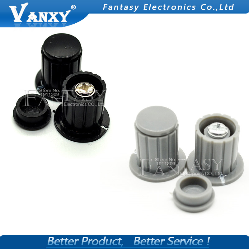5pcs Black Grey Knob Button Cap Is Suitable For High Quality Wxd3-13 2w Wxd3-12 1w Turn Around Special Potentiometer Knob Diversified In Packaging Active Components