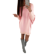 Casual Women Loose Shirt Dress Mini Batwing Long Sleeve Jumper Loose Sweater Winter Dresses Pink Ladies Casual Pullover Vestido casual women loose shirt dress mini batwing long sleeve jumper loose sweater winter dresses pink ladies casual pullover vestido