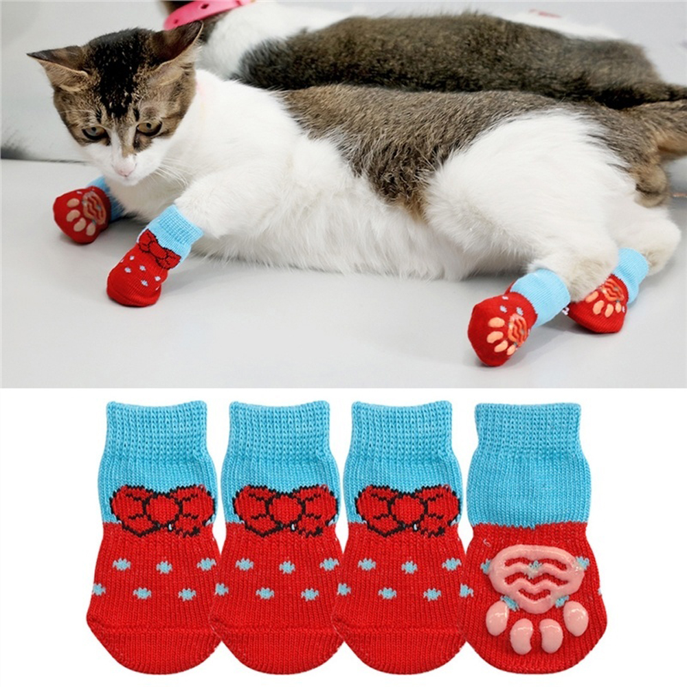1 pair Creative Cat Coats Pet cat socks Dog Socks Traction Control for Indoor Wear L/M/S Clothing Multicolor S M L 5