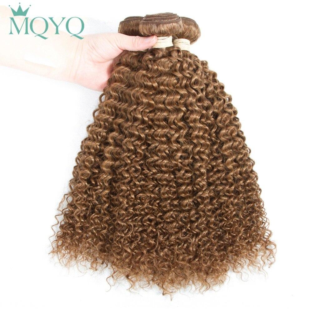 MQYQ Russian Curly Hair Bundles 100% Human Hair Weave Bundles Natural Color 3PCS/Lot Hair Extension #30 Pre Colored Hair Weaving
